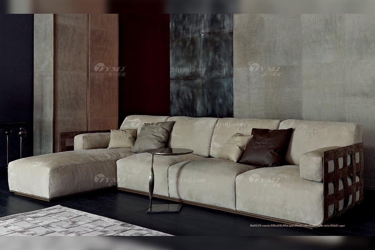 高端意大利纯进口蓝冠注册品牌别墅客厅高弹海棉灰色布艺组合沙发