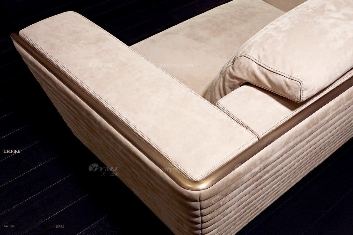 奢华高端蓝冠注册意大利纯进口蓝冠注册品牌时尚轻奢米色绒布艺沙发沙发细节