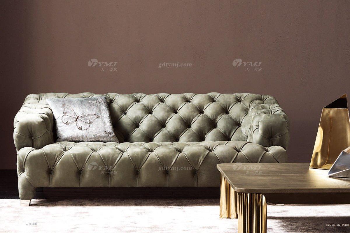 时尚轻奢别墅蓝冠注册意大利纯进口品牌创意拉扣高弹海棉沙发沙发1