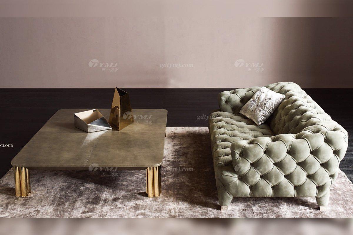 时尚轻奢别墅蓝冠注册意大利纯进口品牌创意拉扣高弹海棉沙发