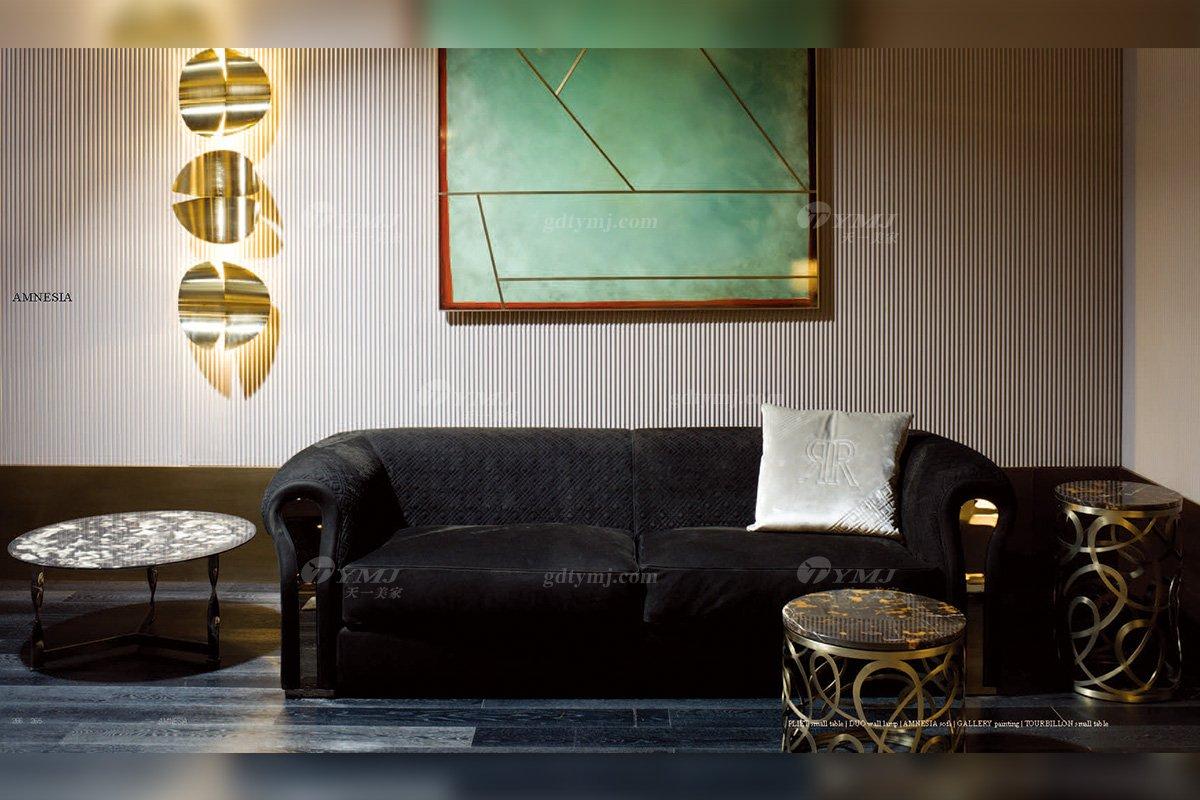 高端奢华意大利进口时尚轻奢蓝冠注册品牌客厅黑色布艺软包双人沙发