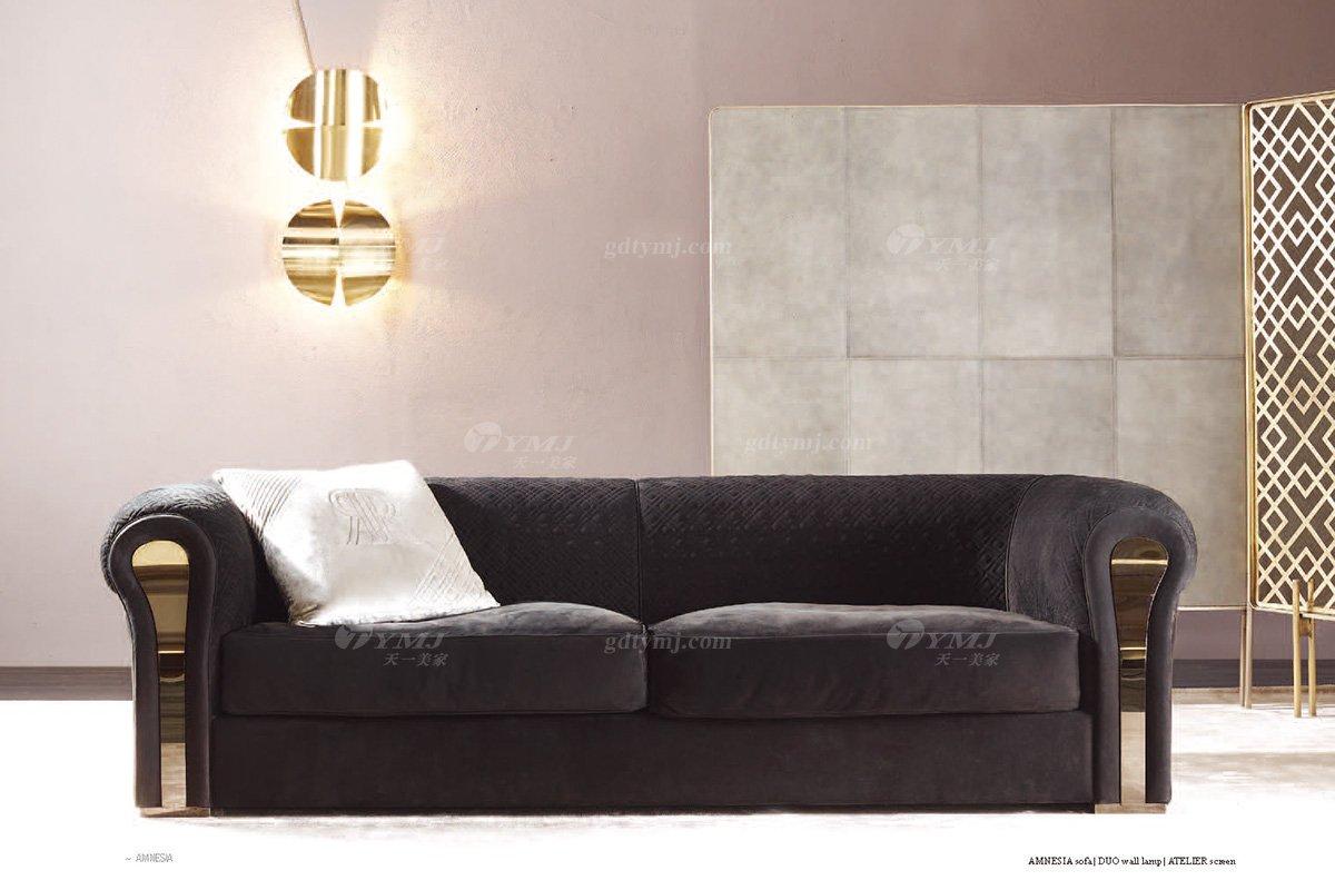 高端奢华意大利进口时尚轻奢蓝冠注册品牌客厅黑色布艺软包双人沙发双人沙发1