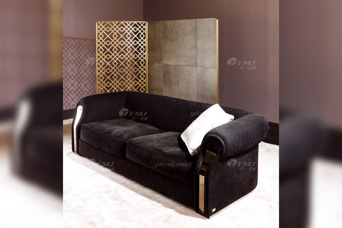 高端奢华意大利进口时尚轻奢蓝冠注册品牌客厅黑色布艺软包双人沙发双人沙发2