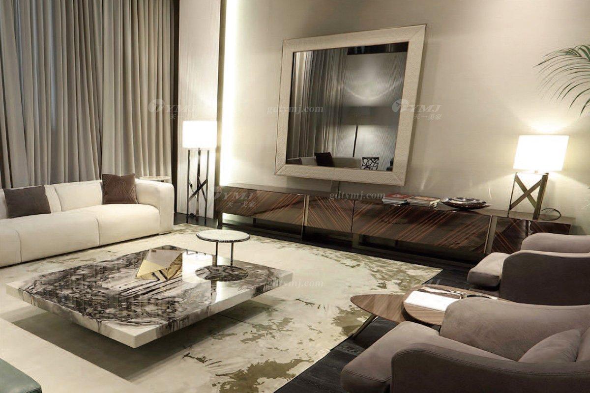 时尚轻奢蓝冠注册意大利纯进口奢华品牌客厅真皮沙发组合系列沙发组合场景
