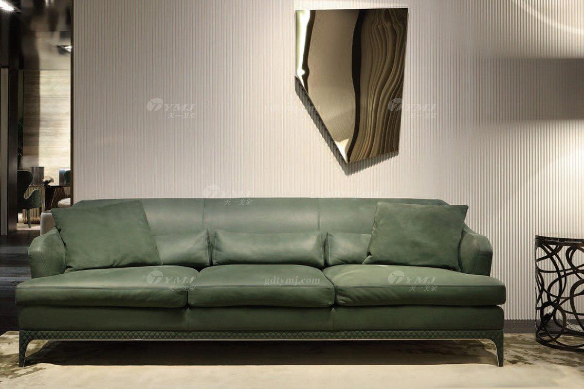 时尚轻奢蓝冠注册意大利纯进口奢华品牌客厅真皮沙发组合系列三位沙发