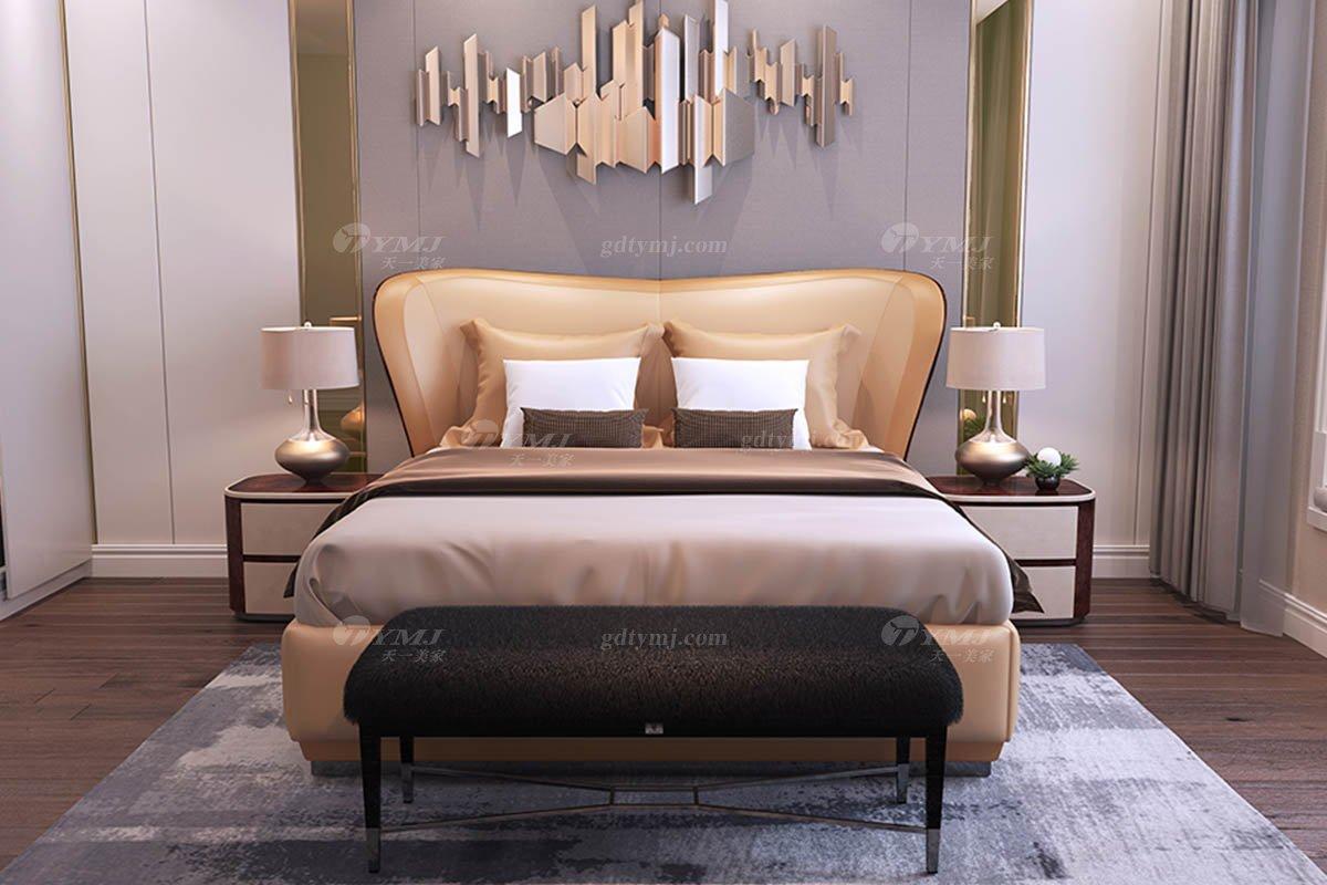 高端别墅蓝冠注册时尚奢华样板间蓝冠注册轻奢后现代卧室真皮双人大床系列