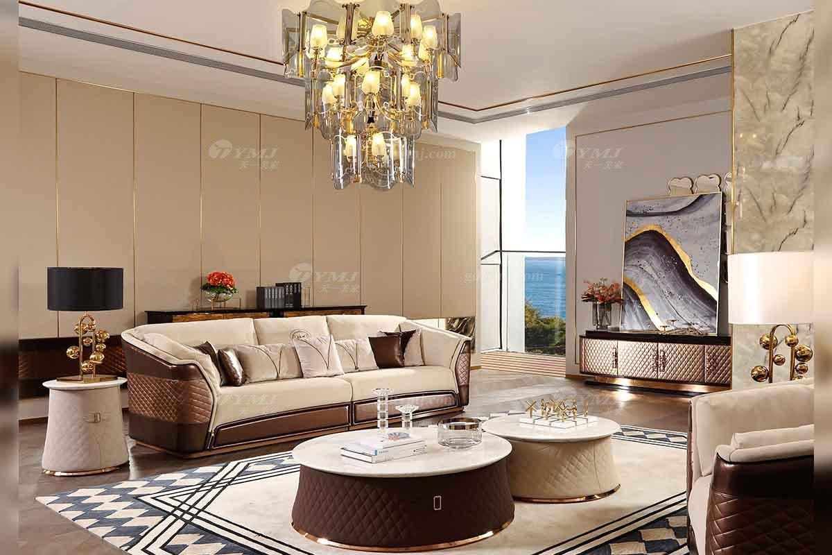 奢华别墅蓝冠注册品牌样板间蓝冠注册轻奢后现代客厅真皮沙发组合系列
