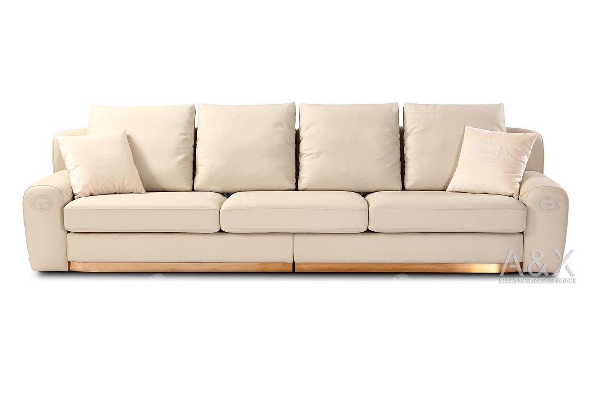 高端别墅豪宅蓝冠注册品牌高端样板间蓝冠注册轻奢后现代时尚米白色头层皮四位沙发