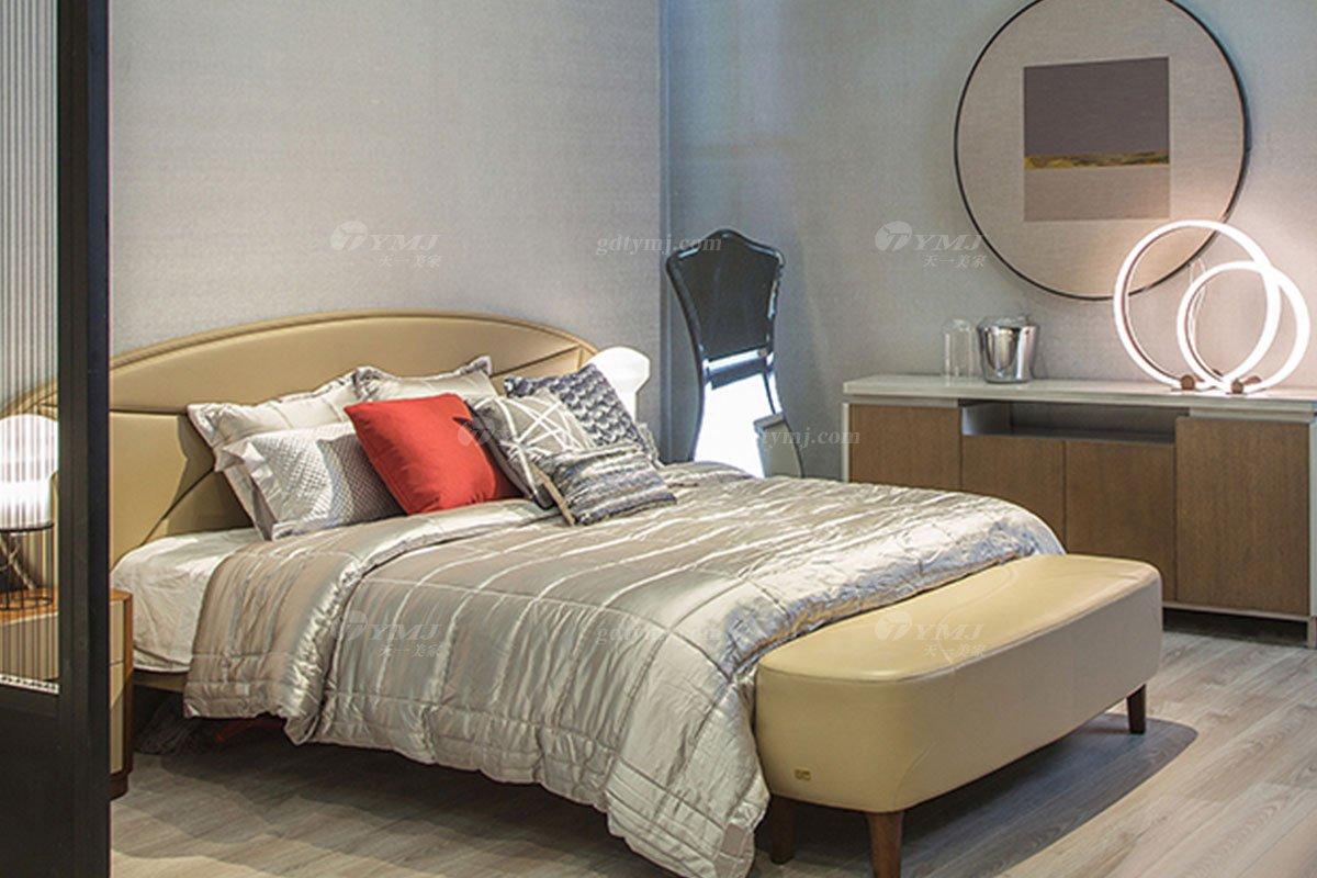 高端别墅会所蓝冠注册品牌极简轻奢北欧蓝冠注册时尚创意真皮卧室双人床系列