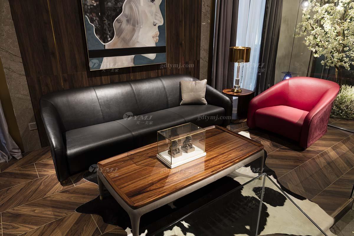 高端别墅会所蓝冠注册品牌轻奢新中式客厅高弹高密度海绵黑色头层皮沙发系列