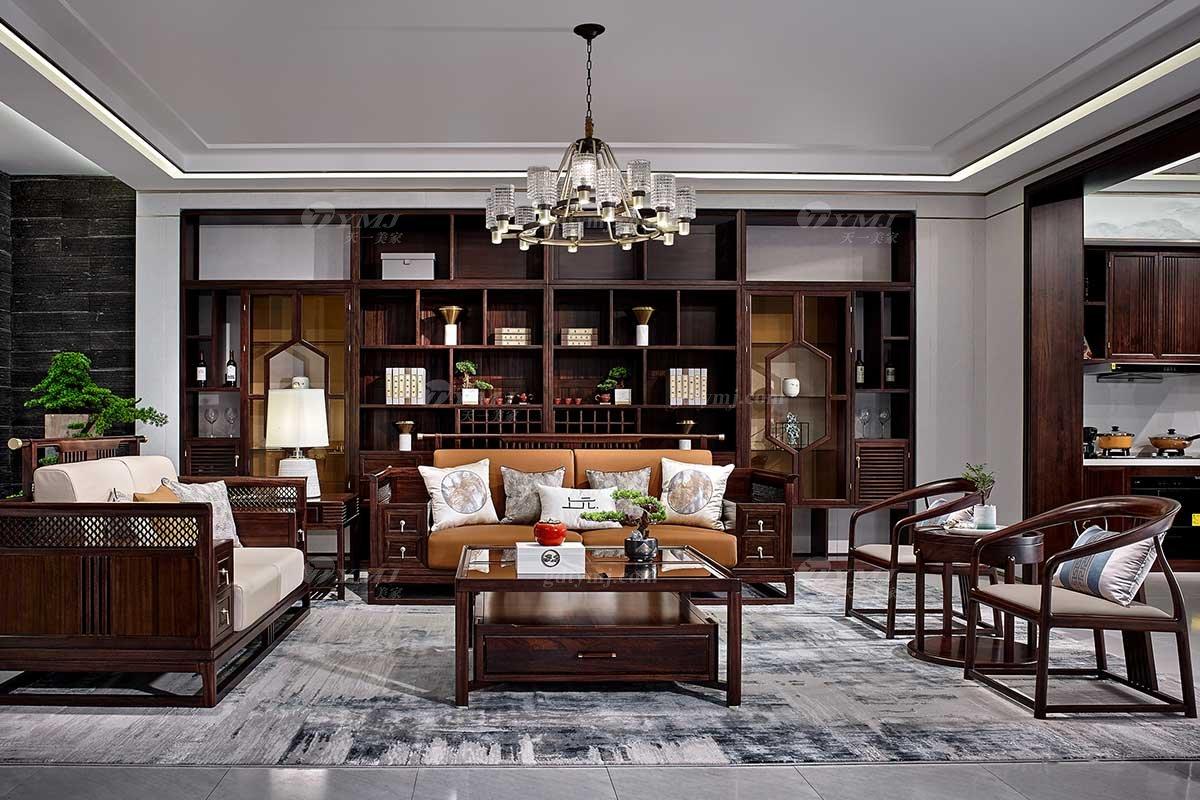 高档别墅会所蓝冠注册品牌轻奢新中式风格客厅实木沙发单椅组合