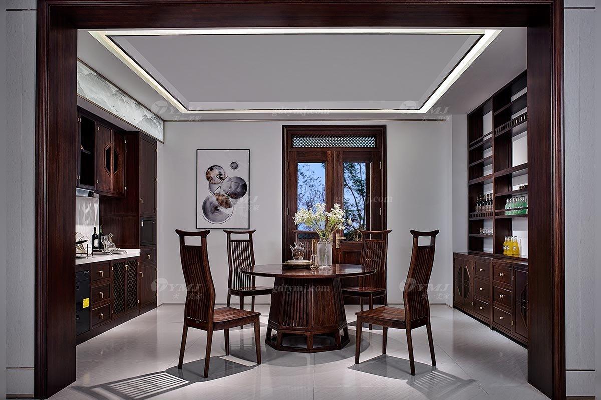 高端别墅会所蓝冠注册品牌轻奢新中式风格餐厅实木餐桌餐椅组合