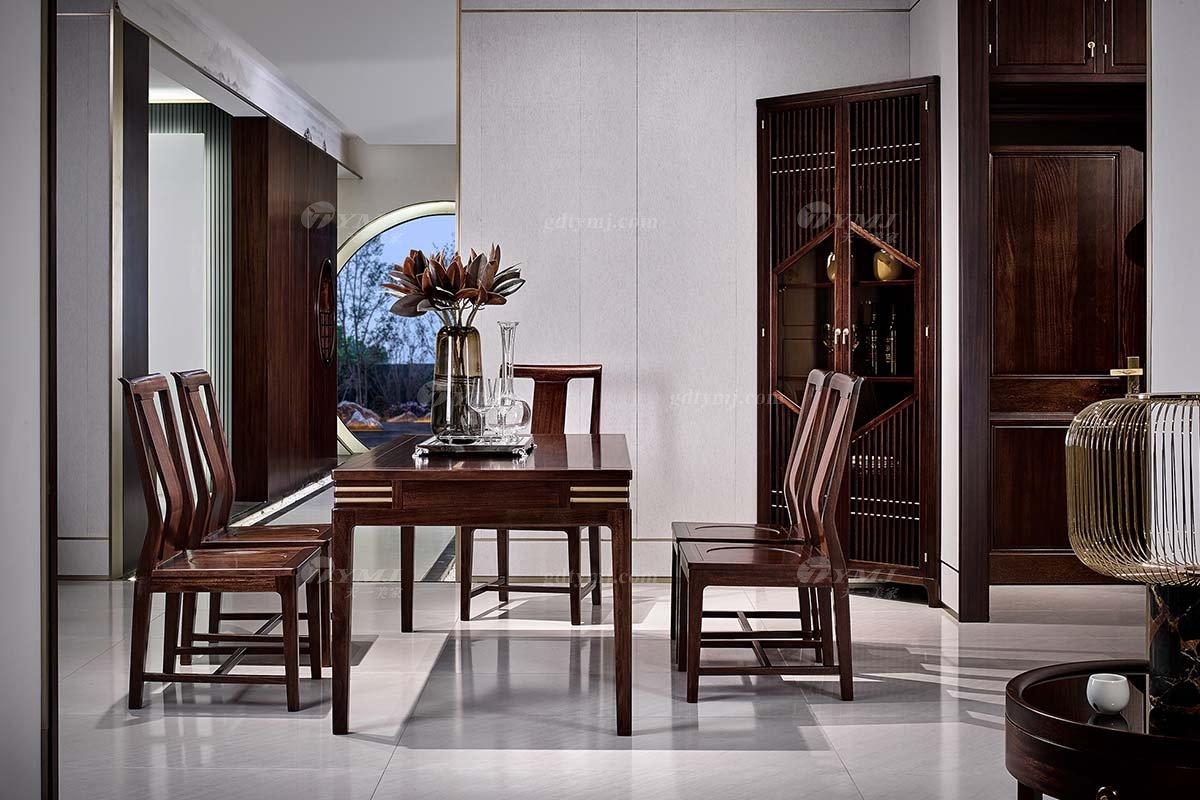 高档大气会所别墅蓝冠注册品牌轻奢新中式风格餐厅蓝冠注册实木餐桌椅