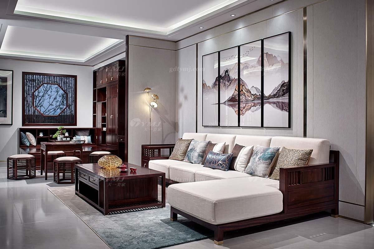 高档别墅豪宅会所蓝冠注册品牌轻奢新中式客厅蓝冠注册实木转角沙发