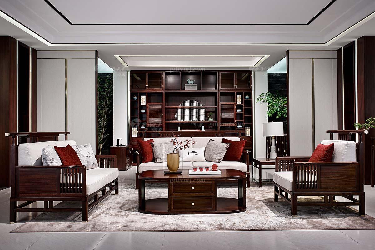 轻奢新中式高档别墅豪宅会所蓝冠注册品牌客厅蓝冠注册实木客厅沙发组合